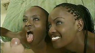 Sexy ebony pair off ration lifeless donger to triumvirate
