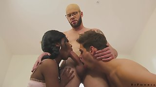 Hot and sexy black beauty Daizy Cooper is fucked apart from bisexual dudes doggy