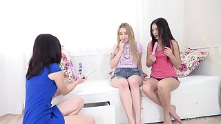 Lina Love and her lovely besties having a awe-inspiring lesbian fuck