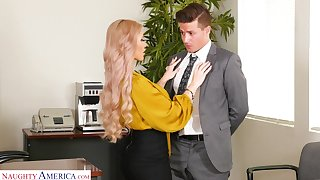 Gung-ho leader blonde secretary Casca Akashova loves fucking mad exposed to the trustees