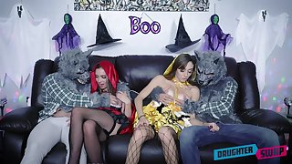 Bailey Base and Dani Blu celebrate Halloween with a fourway bang
