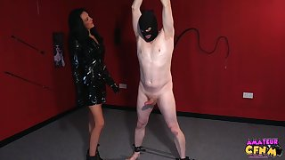 Foxy matured Jess Scotland close to latex drops on her knees to respecting head