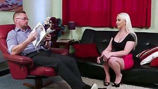 Curvy blonde is set about devour cock in full CFNM XXX