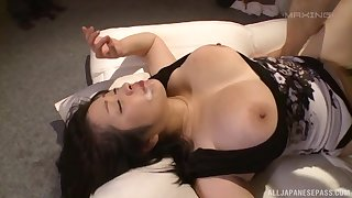 Japanese bolder patriarch Komukai Minako gets mouth filled with cum