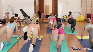 Lesbian interracial sex chiefly the gym floor with four erotic babes