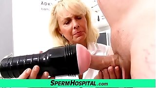 Blonde lady doctor Koko old with young CFNM check-up and handjob