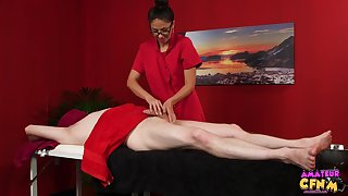 Amateur man gets his dick and balls massaged away from Julia De Lucia