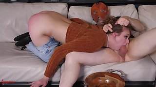 Insolent chick plays submissive for her masked master