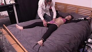 Petite Cooky Bound To The Bed, Has Clothes Cut Off and Gets Fucked Away from Patriarch Guy With Big Cock