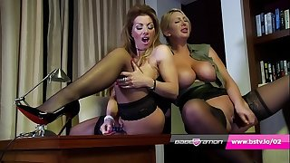 Office lesbians Lynda Leigh & Leigh Darby in skivvies and heels
