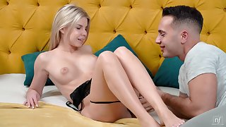 Blonde chick Olivia Sin gets talked into riding a friend's boner