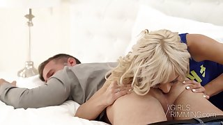 Blond wife Lola Shine gives a rimjob increased by blowjob to her workaholic husband